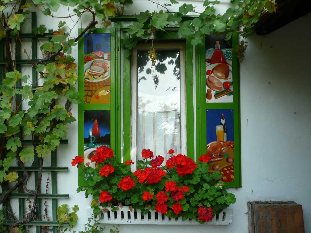 Muskátlis ablak / Fenster mit Geranien